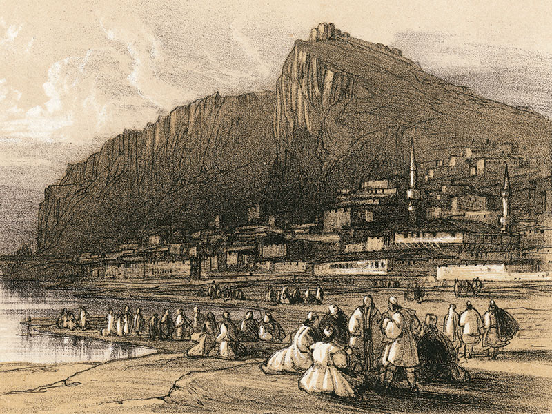 Berat, lithograph 1851 by Edward Lear.