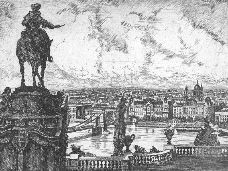 Budapest, late-20th-century etching by F. Conrad.