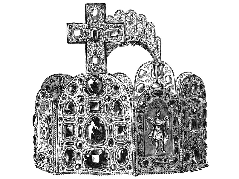 Imperial Crown of the Holy Roman Emperor, engraving c. 1880.
