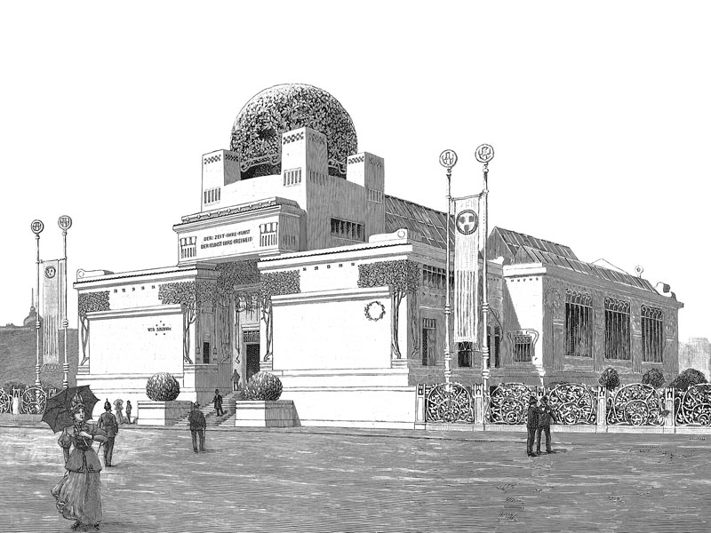 The Secession Building, wood engraving 1898, the year of its completion.