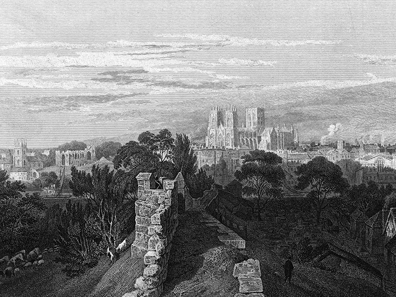 York, from the walls, engraving c. 1840.