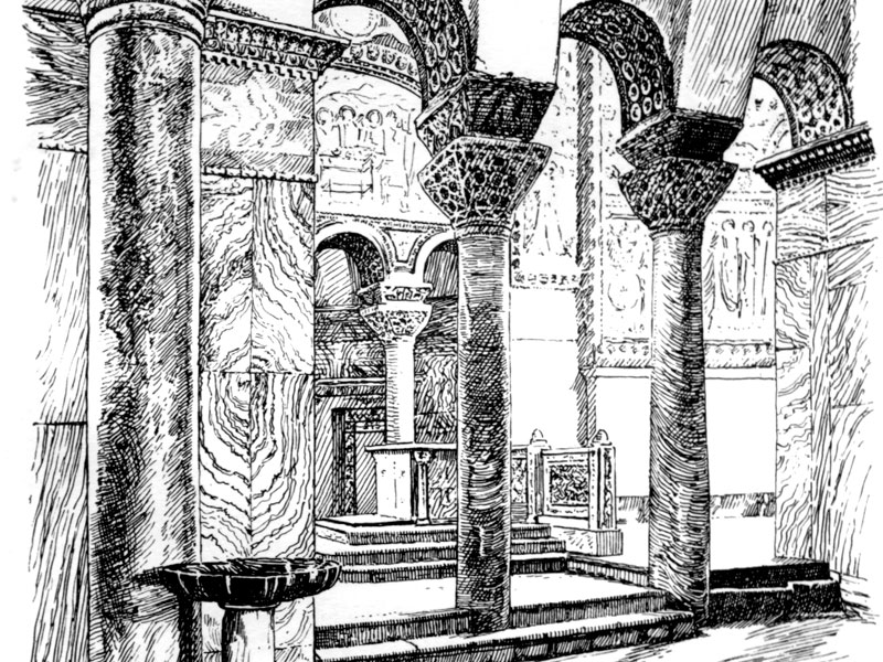 Ravenna, San Vitale, engraving 1906 from 'The Shores of the Adriatic'.