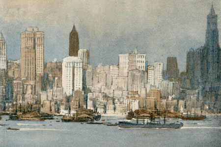 New York, watercolour by Donald Maxwell, publ. c. 1928