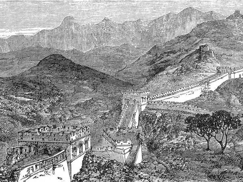 Section of The Great Wall north of Zhangjiakou, wood engraving from Le Tour du Monde 1864.