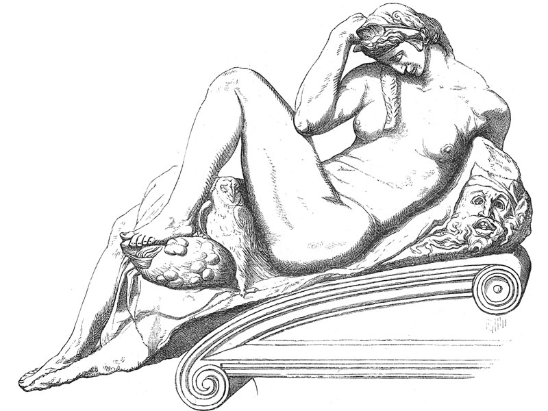 Tomb of Lorenzo de Medici, by Michelangelo, in the Basilica of San Lorenzo, engraving 1888.
