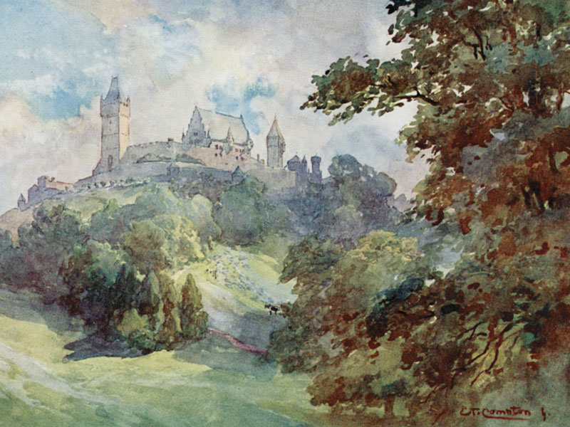 Coburg Castle and Park, from Germany, by E T & E Harrison Compton, 1912