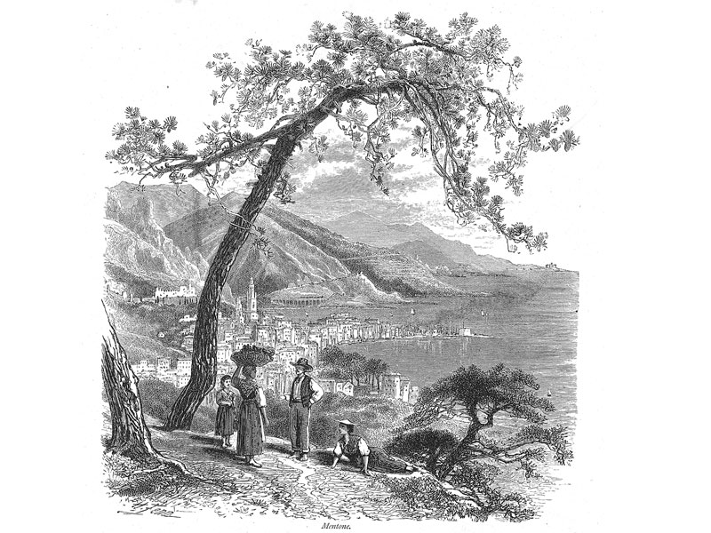 Menton, engraving from Picturesque Europe, c. 1880.