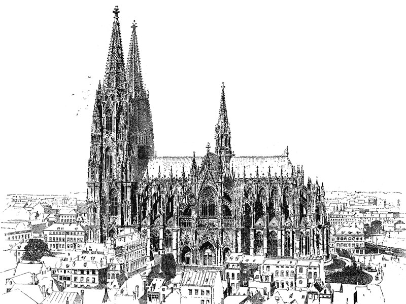Cologne Cathedral, from Pen Drawing & Pen Draughtsmen by Joseph Pennell, 1987.