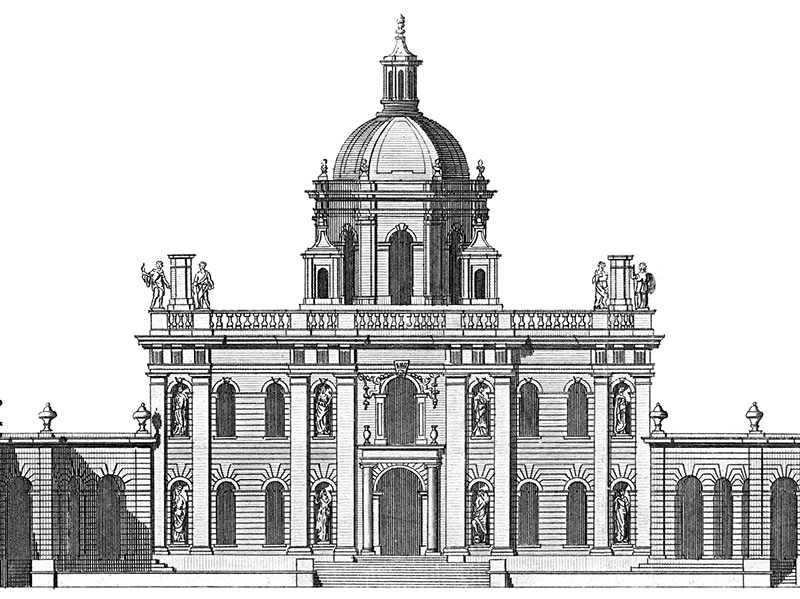 Castle Howard, engraving based on Colen Cambell's Vitruvius Britannicus, 1720s.
