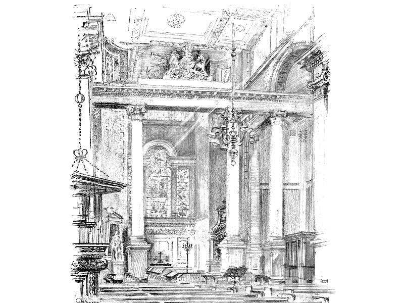 Christ Church Spitalfields (Hawksmoor), from 'Some London Churches', illustrated by G.M. Ellwood, publ. 1911.