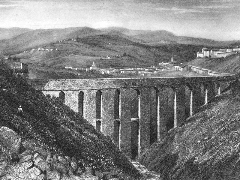 Spoleto, Ponte delle Torri, reproduction of a 19th-century steel engraving.