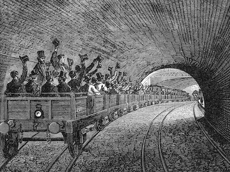 Trial trip on the Underground Railway in 1863, wood engraving c. 1880.