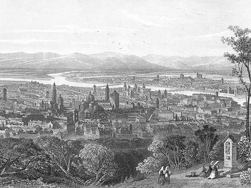 Parma, steel engraving c. 1850.