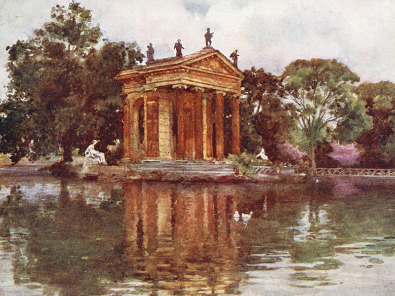 Villa Borghese, from 'Rome' by Alberto Pisa,publ. A&C Black 1905
