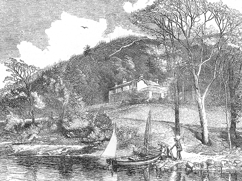 Ruskin's house at Brantwood, wood engraving c. 1880 after a drawing by L.J. Hilliard.