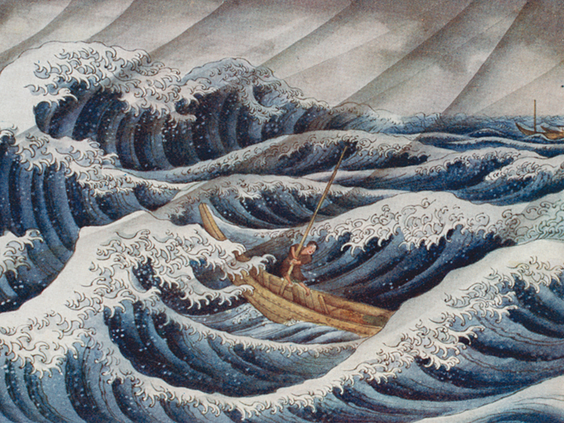 'Makino Heinei gets blown away in the storm', an illustration from 'Ancient Tales & Folklore of Japan' by R. Gordon Smith, 1908.