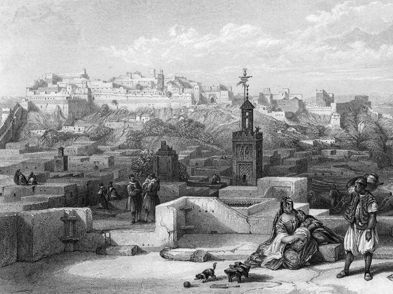 Tangier, steel engraving from The Chaplet 1845.