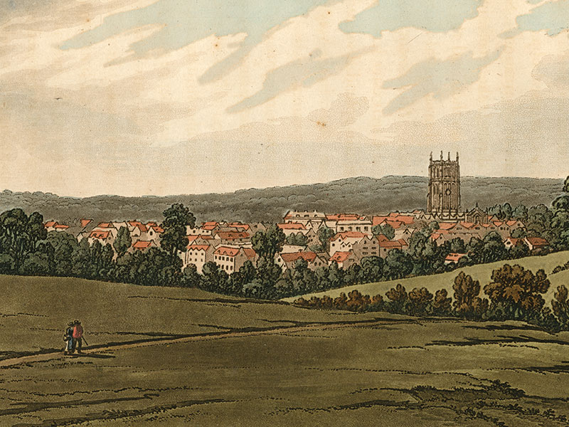 Cirencester, aquatint 1793 by Joseph Constantine Stadler after Joseph Farington (1747–1821).