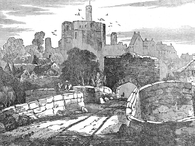 Warkworth Castle, wood engraving from The Saturday Magazine, 1833.