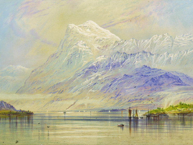 Norwegian landscape, after an early-20th-century painting.