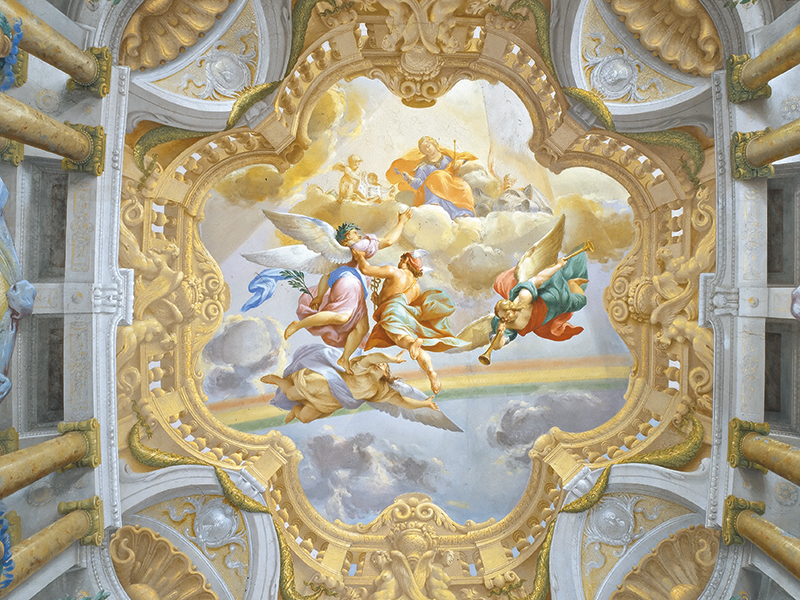 Photograph of the ceiling of the Palazzo Albergati.