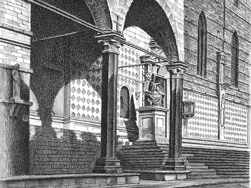 Perugia, Cathedral, lithograph by V. Faini c.1930.