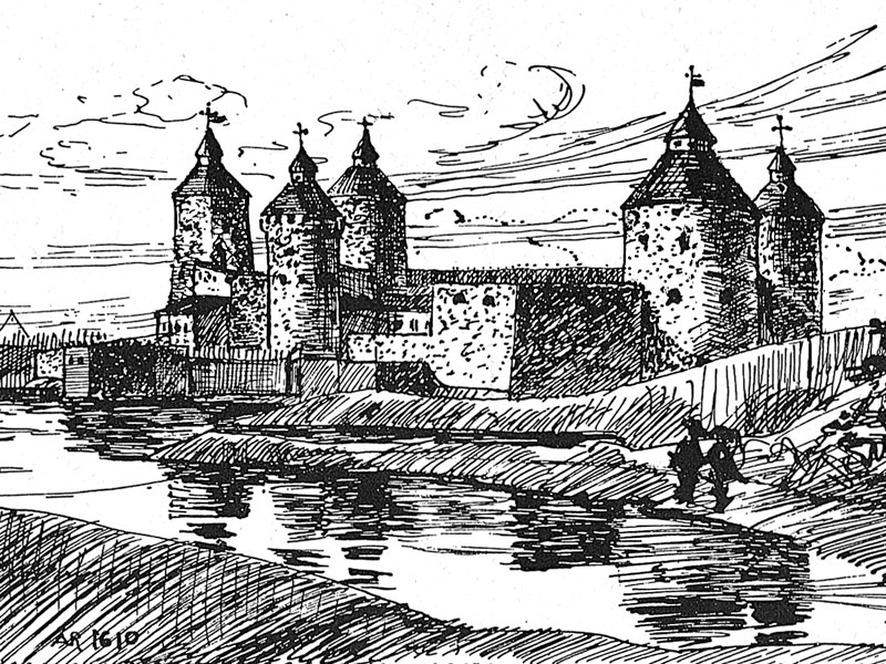 Savonlinna, after a pen and ink drawing, early 20th-century.