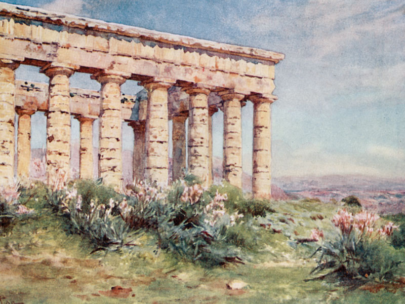 Segesta, watercolour by Alberto Pisa, publ. 1911.