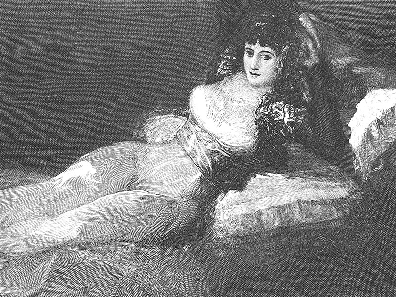 'La Maja' (Duchess of Alba), engraving c. 1890 after the painting by Goya