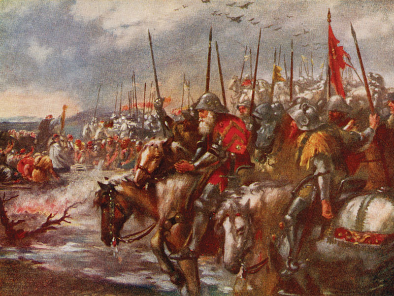 'The Morning of Agincourt', watercolour after Sir John Gilbert publ. 1920.