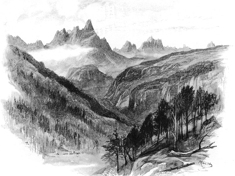The Dolomites and the Cadore Valley, wood engraving 1893 after John McWhirter.