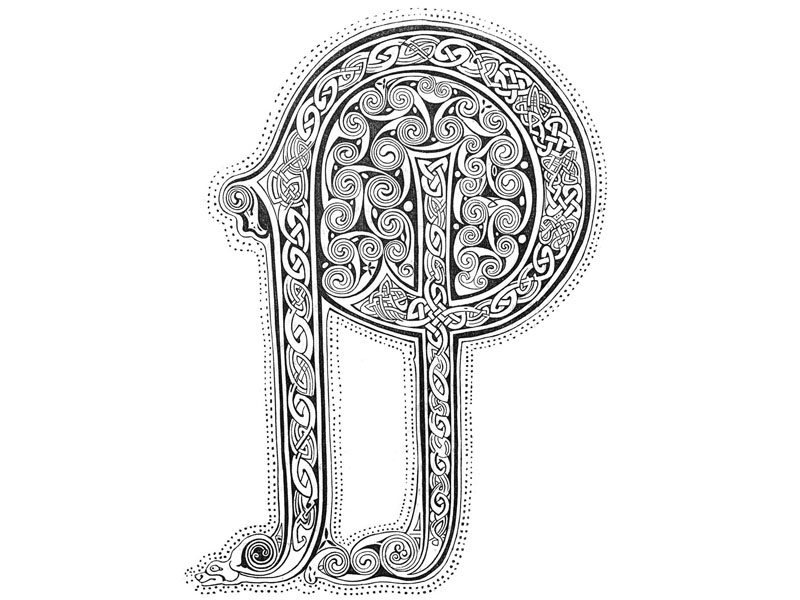 Anglo-Saxon letter, engraving c. 1860.