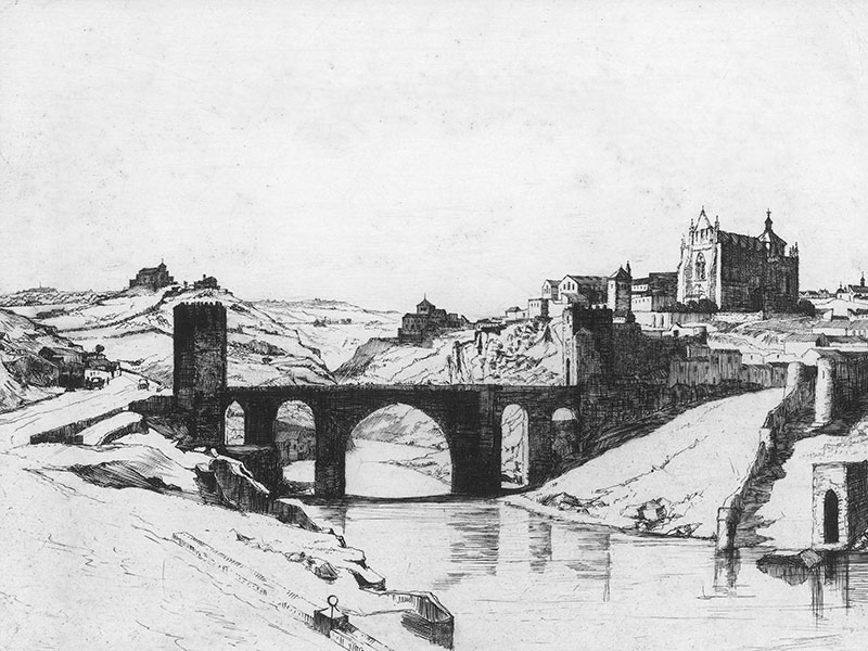 Toledo, 20th-century etching.