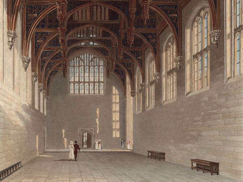 Hampton Court, Gothic Hall, engraving by W.J. Bennett after Charles Wild.