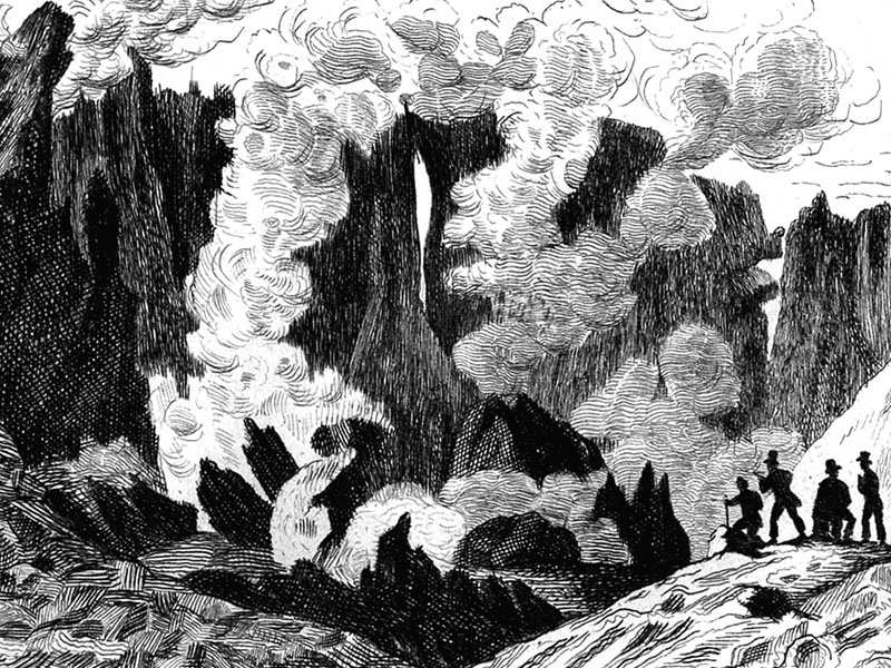Tourists inspecting Mount Etna, engraving c. 1830.