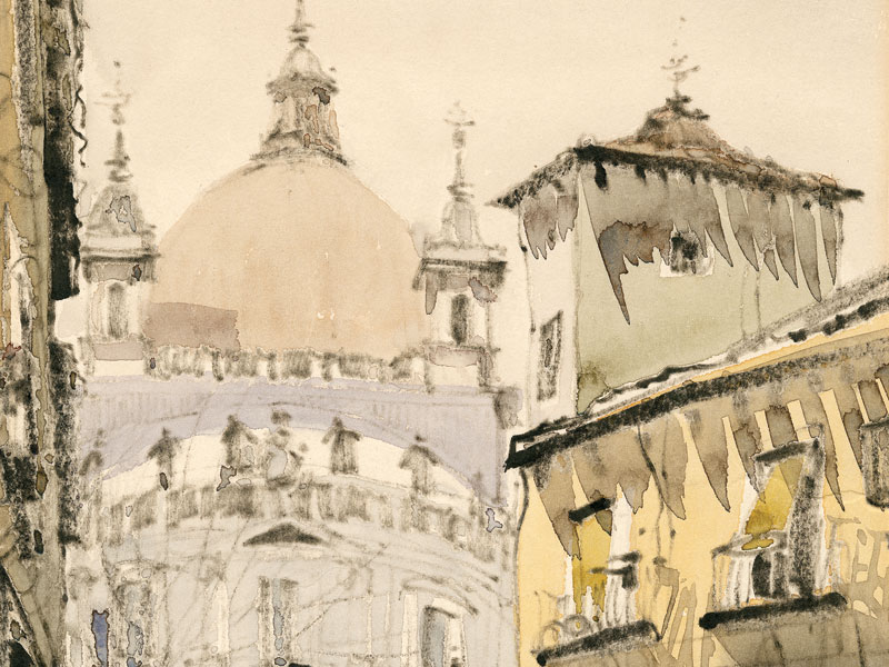 Madrid, San Francisco El Grande, 20th-century watercolour