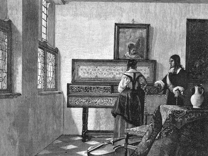 The Music Maker and his Pupil, wood engraving c. 1880 after Vermeer.