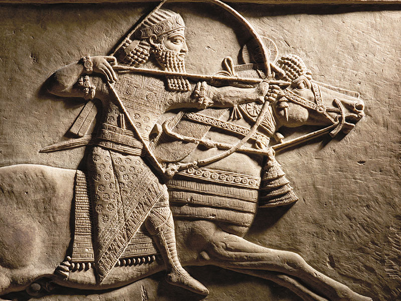 Relief detail of Ashurbanipal hunting on horseback. Nineveh, Assyria, 645–635 BC © The Trustees of the British Museum.