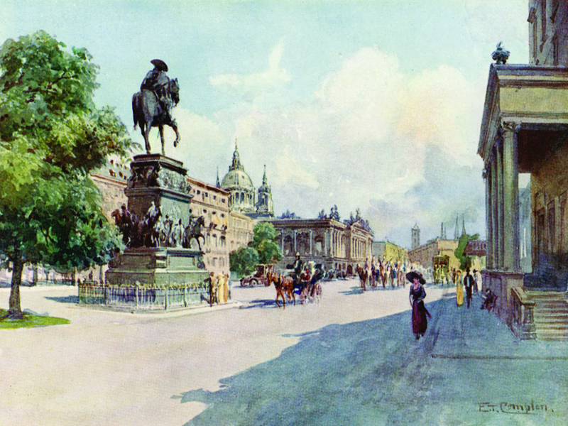 Berlin, Unter den Linden, watercolour by E.T. Compton, publ. 1912.