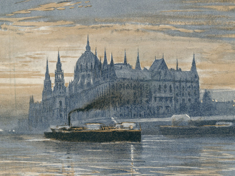 Budapest, Parliament House, early-20th-century watercolour.