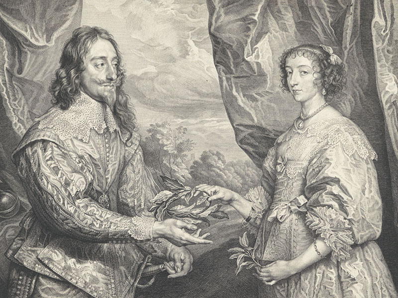 Robert van Voerst after Anthony van Dyck, Charles I and Henrietta Maria Holding a Laurel Wreath, 1634, engraving, The Royal Collection