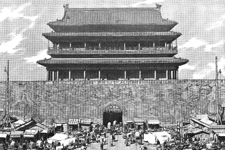 Beijing, 'Gate of Heaven', drawing by Boudier after a photograph, publ. 1892.