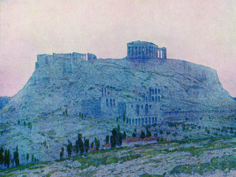 Athens, watercolour by Jules Guérin, publ. 1913.