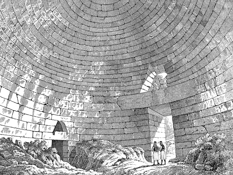 Mycenae, Tomb of Tholos, engraving c. 1850.