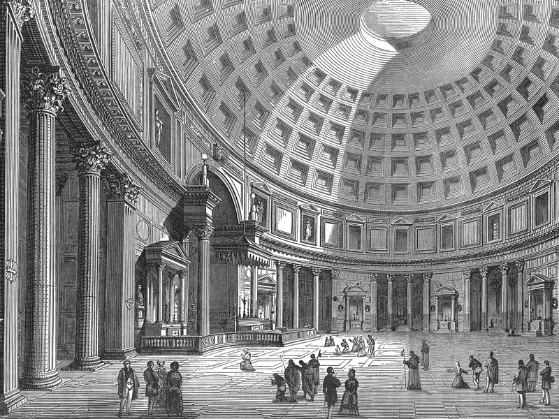 The Pantheon, wood engraving c. 1890.