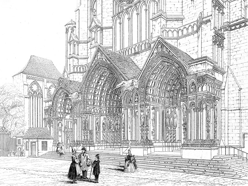 Chartres Cathedral, steel engraving c. 1840.