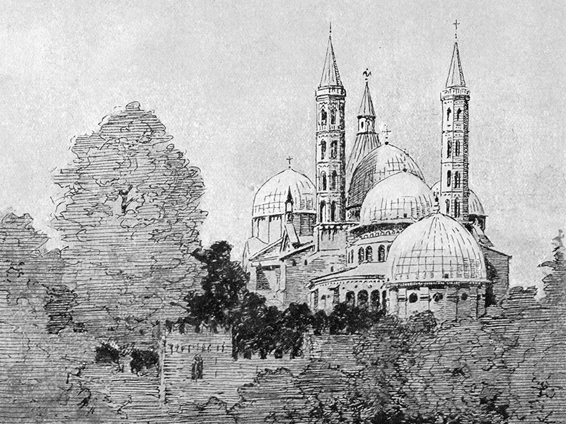 Padua, Church of St Anthony, after a drawing by Inglis Sheldon-Williams in 'A Dawdle in Lombardy', 1928.