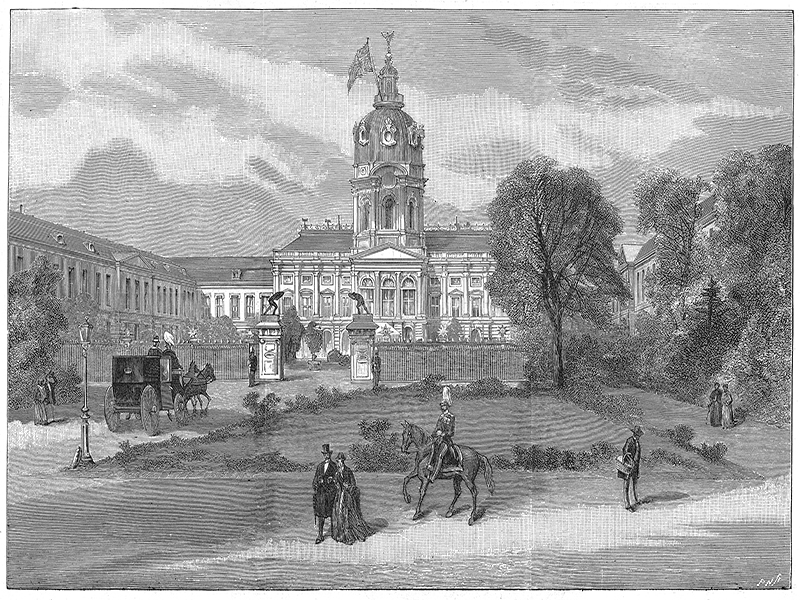 Berlin, Schloss Charlottenburg, wood engraving c. 1880.
