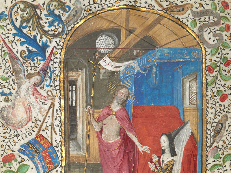 Detail from a miniature of Margaret of York before the Resurrected Christ, c.1468-1477, Brussels, courtesy of the British Library manuscript collection.