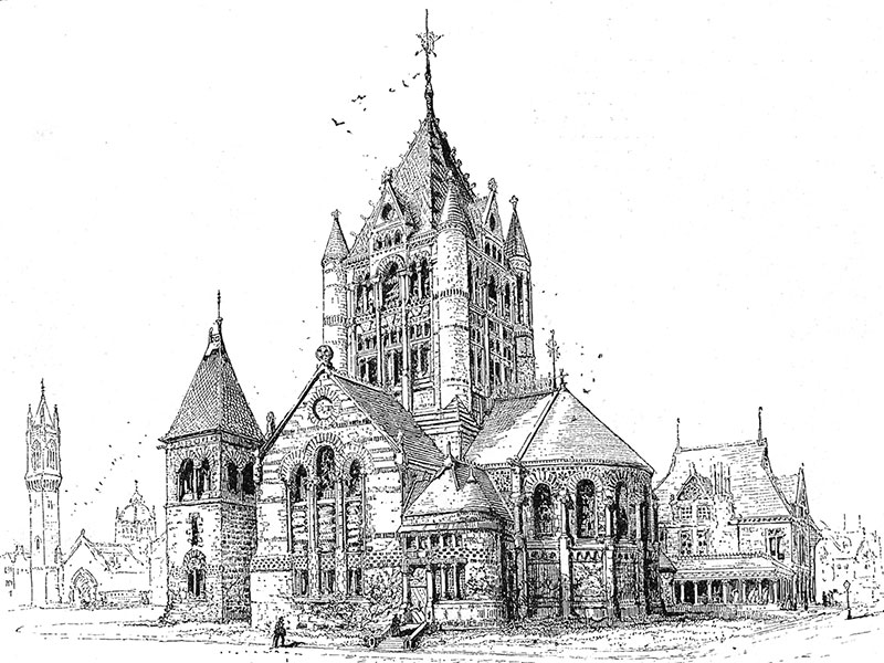 Boston, Trinity Church, wood engraving 1891 after a drawing by Richard Lovett.